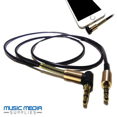 3.5mm 90° Right Angle 2 Pole Gold Jack Plug Aux Headphones Cable Lead iphone