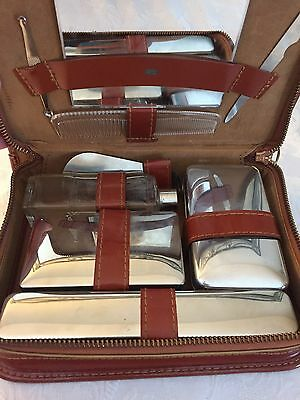 Vintage Swank Brown Leather Toiletry Kit Zips Around