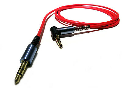 Red 1.2m Jack to Jack Lead Stereo 3.5mm AUX Right Angled 90 degree GOLD Cable#1