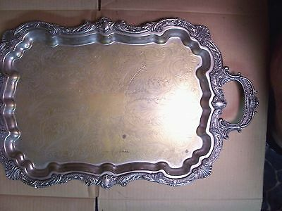 Antique Silver Plated Serving Tray W/ Markers Marks - Butlers Tray- W/ Hallmarks