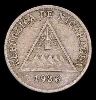 Nicaragua 1936 5 centavos 300,000 minted silver