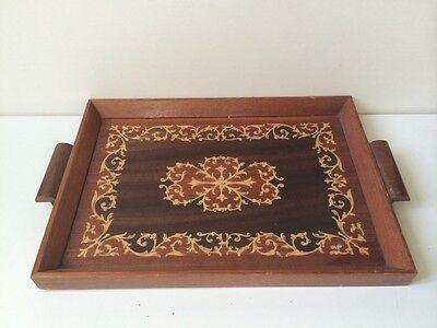 Vintage Inlaid Serving Tray With Marquetry With Wooden Rosewood Frame