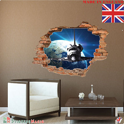 3D Space Hole in the Wall Stickers Boys Kids Bedroom Planet Galaxy Smashed Decal