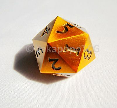 Solid Metal Gold D20 Countdown Dice 20 face Count Down 20 faced Counter