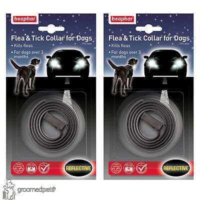 2 x Beaphar Flea & Tick Collar for Dogs, Water Resistant- Black, Reflective
