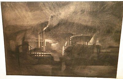 Precisionist Louis Lozowick framed 12x18 charcoal drawing industrial factory