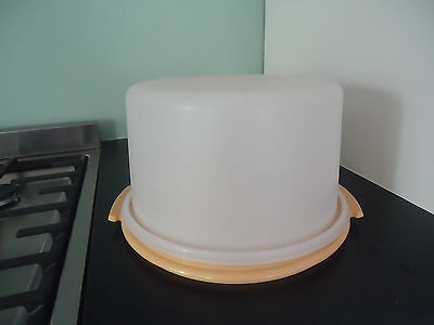 vintage retro  harvest gold tupperware cake taker 2 available