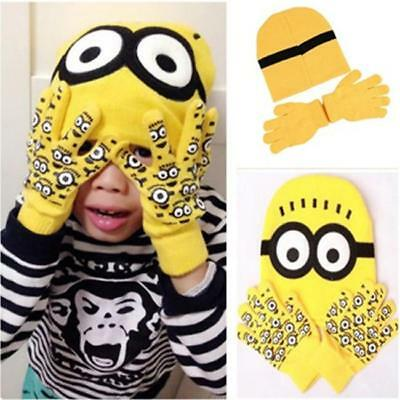 Kids Winter Despicable Me Minion Warm Knitted Hat & Gloves Set Beanie Hat LIN