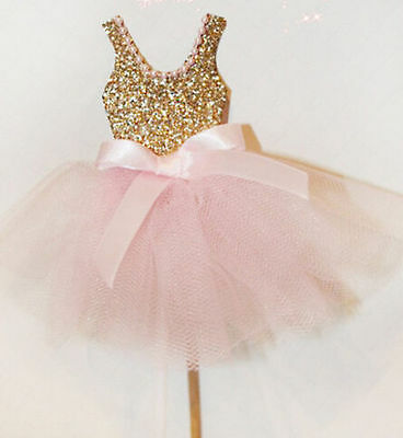 6pcs Gold Silver Glitter Ballerina Cupcake Toppers Pink Dress Princess Skirt