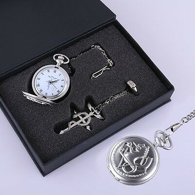 Fullmetal Alchemist Snake Silver Pocket Watch Ring Necklace Cosplay 3pcs Set New