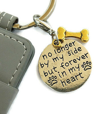 Pet sympathy key chain. Loss and love of dog memorial keyring. PU leather