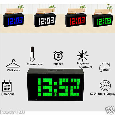 Large Big Digits LED Alarm Wall Table Clock 12/24 Hour Display with Calendar Hot