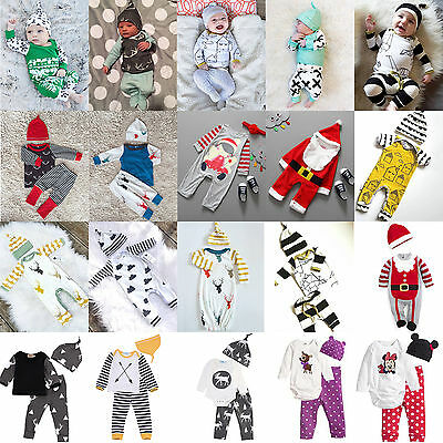 0-24M Newborn Baby Boys Girls Bodysuit Romper Tops Pants Hat Outfits Set Clothes
