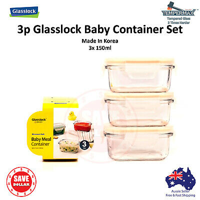 Glasslock 3p Glass Food Container Storage Microwave Safe Baby Meal BPA Free Set