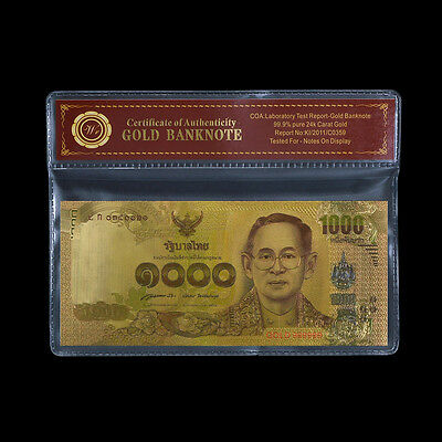 WR Thailand 2015 1000 Baht Colored Banknote King RAMA Gold Foil Note /w Sleeve