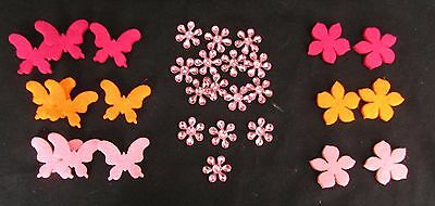 30  Felt Butterfly & Flower & Flower Rhinestone Gems - Pink Orange Dark Red
