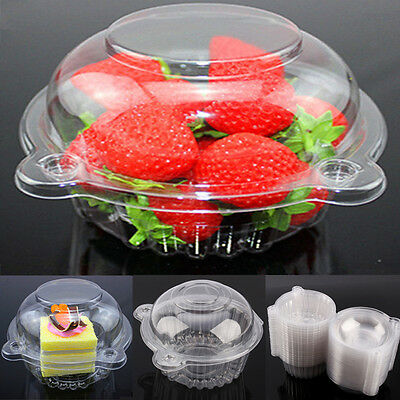 100pcs Plastic Cupcake Case Muffin Pods Dome Cups Cake Boxes Gifts Container AU