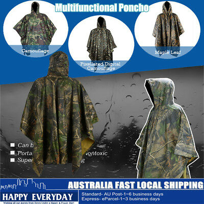 Waterproof Army Hooded Adult Rain Coat Poncho Military Camping Hiking Outdoor AU