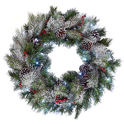 """24"""" Pre-Lit Christmas Wreath - Artificial Door Decoration - Green / Snow Frosted"""