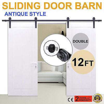 12FT Black Country Style Barn Wood Double Sliding Door Hardware Closet Set New