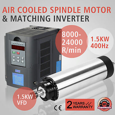 1.5Kw Air Cooled Spindle Motor 1.5Kw Vfd High Speed Inverter Mill Grind