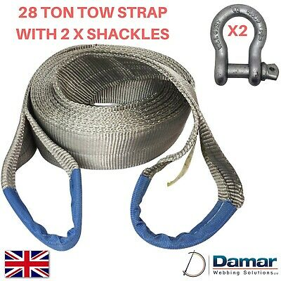 Tow Strap 28 ton 6 mtr with 2 tested bow shackles 6.5 ton HEAVY DUTY