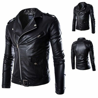 Fashion Men Tops Designer PU Leather Biker Jacket Motorcycle Coat Zip Up Outwear
