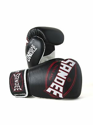 Sandee Cool-Tec Muay Thai Black, White & Red Leather Boxing Gloves