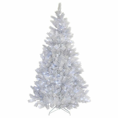 5ft Artificial Christmas Tree White With Glitter Tips Prelit Bright White Lights