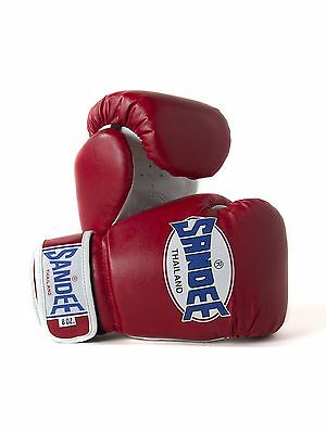 Sandee Authentic Kids Muay Thai Red & White Synthetic Leather Boxing Gloves gym