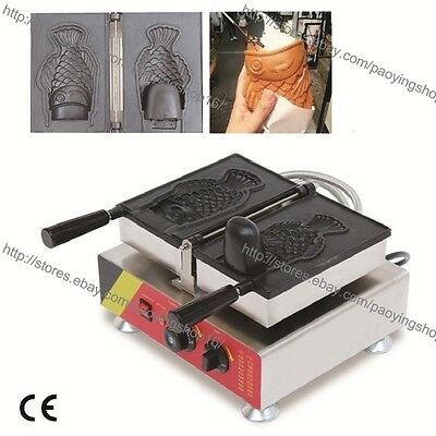 Commercial Nonstick Electric Ice Cream Taiyaki Fish Waffle Maker Baker Machine