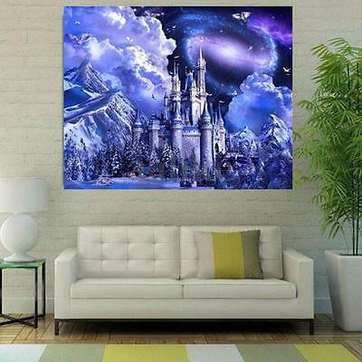5D DIY Diamond Painting Blue Tower Castle Embroidery Cross Stitch Home Decor