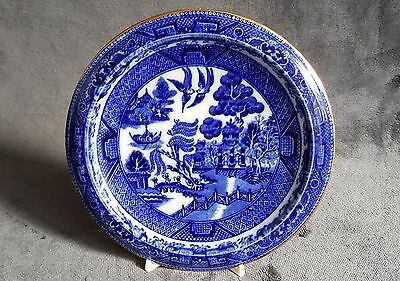 Doulton Burslem Teapot Stand. Blue & White with gilding. Willow Pattern. c1900