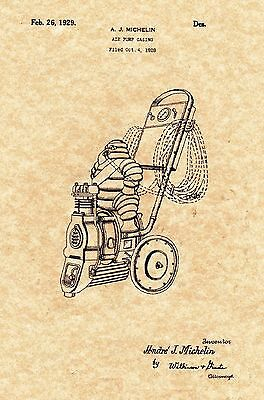 Patent Print - Vintage Michelin Man Air Compressor - 1929 - Ready To be Framed!