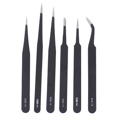 6pcs/Kits ESD Safe Stainless Steel Anti-static Tweezers Maintenance Plier Tools