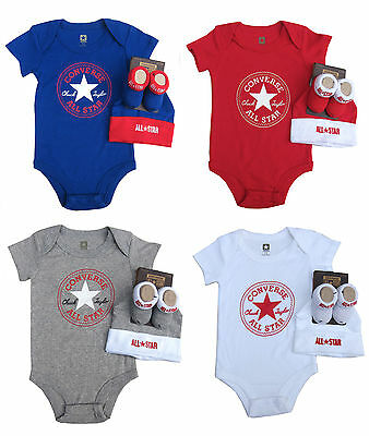 Converse Boys/Girls Romper/Bodysuit Hat and Bootie Set All Star 0-6 Months