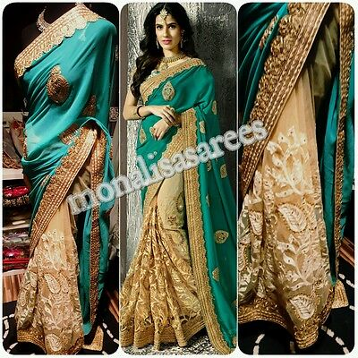 Bollywood Designer Green Ethnic Traditional Saree Uk Stock Ready To Ship