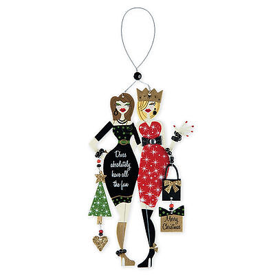 "Holiday Diva Wine Charm Ornament ""Divas Absolutely Have all the Fun"""