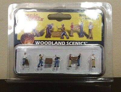 New Woodland Scenics Dock Workers A2123 N Scale Figures Scene for Model Railroad