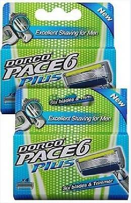 Dorco Pace 6 Plus, 2 Packs DEAL - 8 Cartridges, Six Blade Razor System + Trimmer