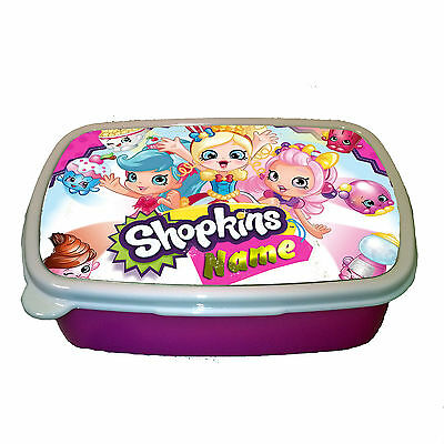 Shopkins Personalised Name Children Plastic Sandwich Lunch Box