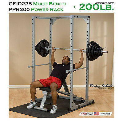 NEW Body Solid GFID225 Bench + PPR200x Power Rack + 200 Lb. Weight Olympic Set