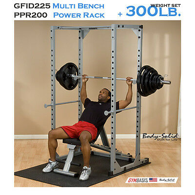NEW Body Solid GFID225 Bench + PPR200X Power Rack + 300 Lb. Weight Olympic Set