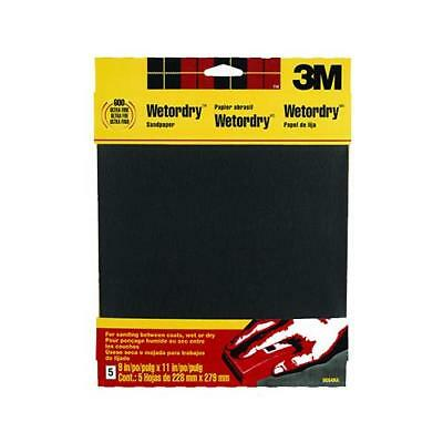 3M 9085 5-Pack 9 x 11-Inch 400-Grit Waterproof Silicone Carbide Sandpaper