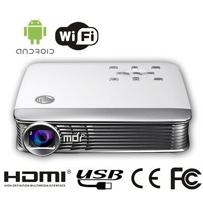 """MDI M8 White Portable Multimedia 3D Projector, 40""""-200"""", 1080P DLP, Wifi Enabled"""