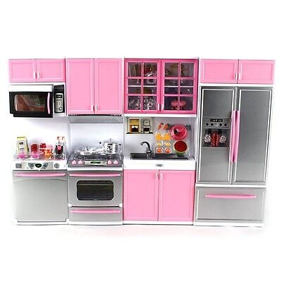 Deluxe Modern Kitchen Battery Operated Doll Playset w/ lights and sounds