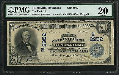 Fr644 $20 1902 Date Back Huntsville, Ark Ch #8952 Pmg 20 Vf Only 2 Known Wlm2167