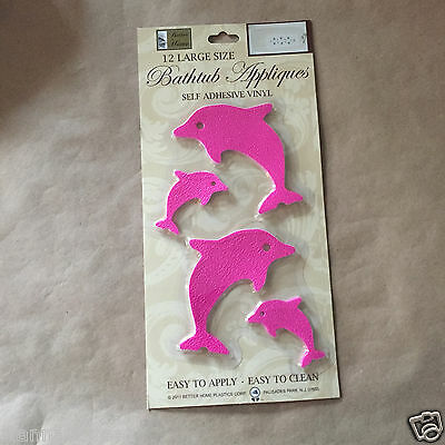 12-pc SHOWER BATHTUB Appliques Stickers Non Slip SELF-STICK Pink Dolphins