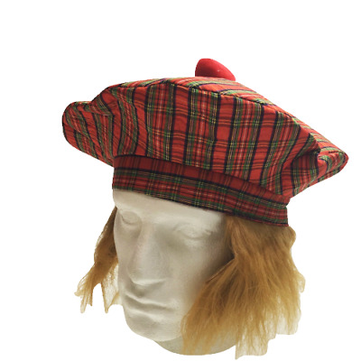 SCOTTISH HAT Tam O'Shanter Fancy Dress Costume with Hair Tartan Cap Party New