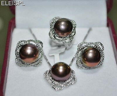11-12mm white pink black Freshwater pearl sets necklace earring ring